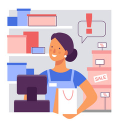 Saleswoman at work in store flat stylized vector
