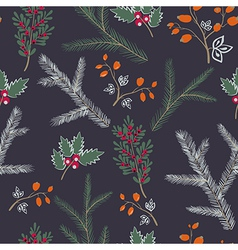 Seamless pattern floral branches winter christmas vector