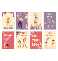 set colored card positive body woman motivation vector image