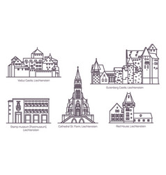 set liechtenstein landmarks in thin line vector image
