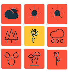 Set of 9 world icons includes forest rain oak vector
