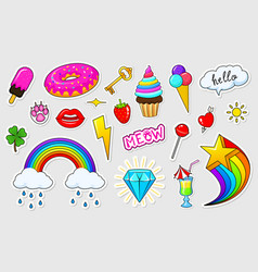 Set of girls fashion cute patches fun stickers vector