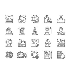 set oil industry line icons fuel truck vector image