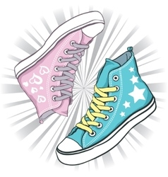 shoes blue with stars and pink hearts vector image