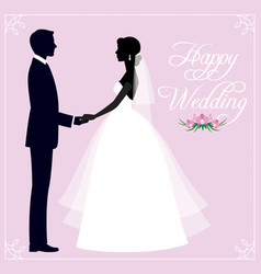 Silhouette of a loving couple of newlyweds groom vector