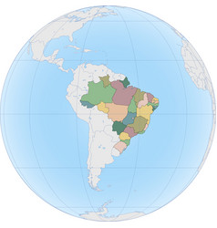 south america with brazil on globe vector image