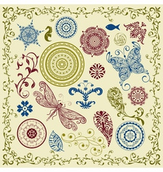 summer vintage floral bright design elements vector image