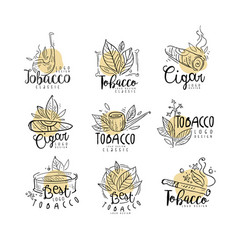Tobacco logo design set emblems can be used for vector