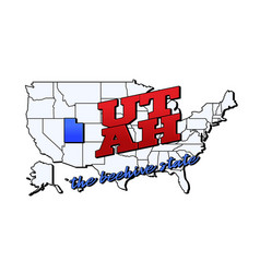 utah state with us state on american vector image