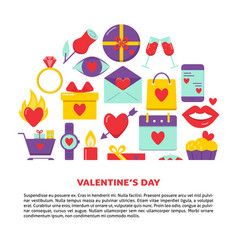 valentines day banner with love icons in flat vector image