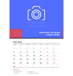 Wall calendar planner template for may 2021 week vector