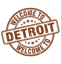 Welcome to detroit brown round vintage stamp vector