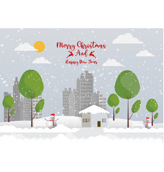 winter season with snowflake and snowman in town vector image