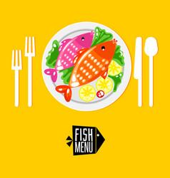 cartoone fish menu with icon vector image vector image