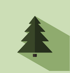 christmas tree icon with shade vector image