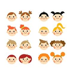Flat cartoon children faces collection vector image