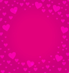 Frame border shaped from pink heart on deep pink vector image