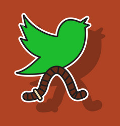 Sticker unusual look tweet bird logotwitter icon vector