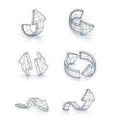 Arrows set drawing vector image
