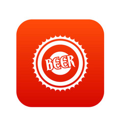 beer bottle cap icon digital red vector image