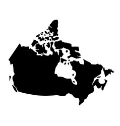 black silhouette country borders map of canada on vector image vector image