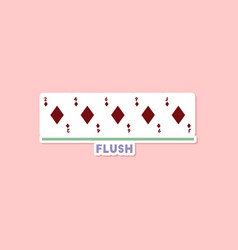 Paper sticker on stylish background poker flush vector