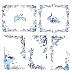 Blue Christmas Frames and Corners vector image vector image