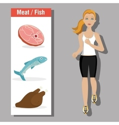 Fitness and healthy food vector