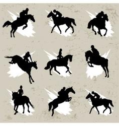 horse with jockey vector image vector image