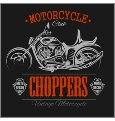 Motorcycle Chopper logo vintage garage vector image