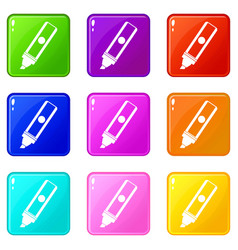Permanent marker icons 9 set vector