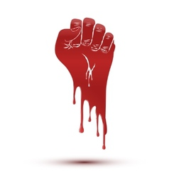 Symbol blood flow of clenched fist held in protest vector image