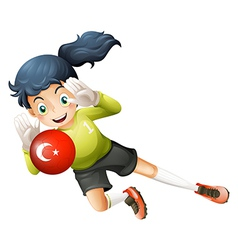 A female football player using the ball with the vector