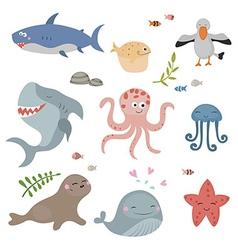 Cute sea creatures vector image