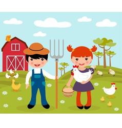 Farmers at farm vector image vector image