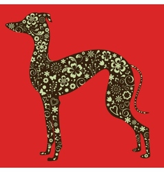 Floral greyhound silhouette vector