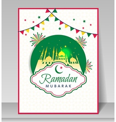 Ramadan Kareem celebration with mosque vector image vector image