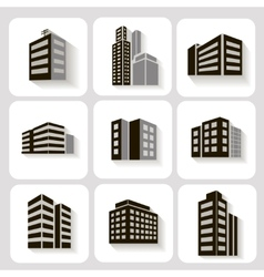 Set of dimensional buildings icons in grey and vector image vector image