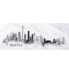 Silhouette ink Seattle vector image vector image