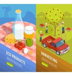 Vertical Isometric Farm Banner Set vector image vector image