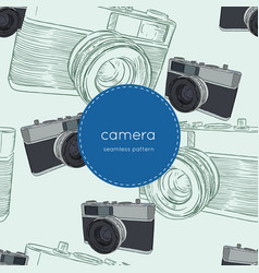 vintage rangefinder film camera seamless pattern vector image