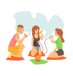 young cool hipsters smoking hookah and vaporizer vector image