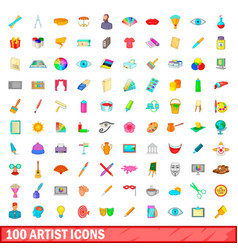 100 artist icons set cartoon style vector image