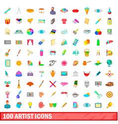 100 artist icons set cartoon style vector