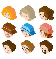 3d design for woman and man faces vector image