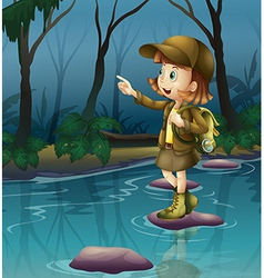A girl above a rock in river vector