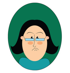 A mad teacher with a frown on her face or color vector