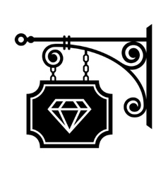 Ancient street signboard of jeweler vector image