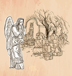 Angel - An hand drawn Line art vector