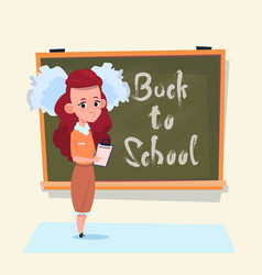 back to school small girl standing over class vector image